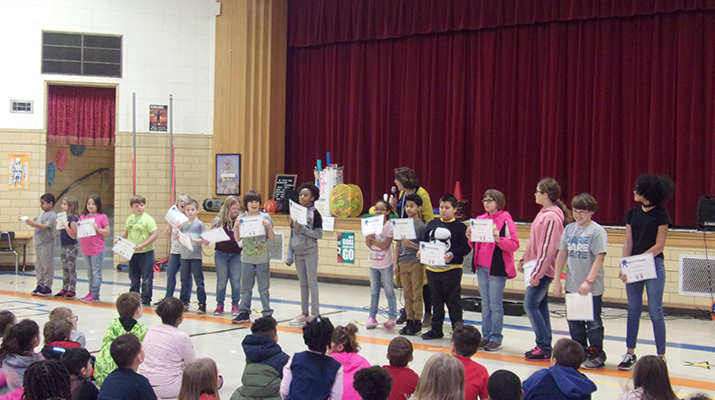 Photo of Franklin 2nd quarter awards assembly. See info below