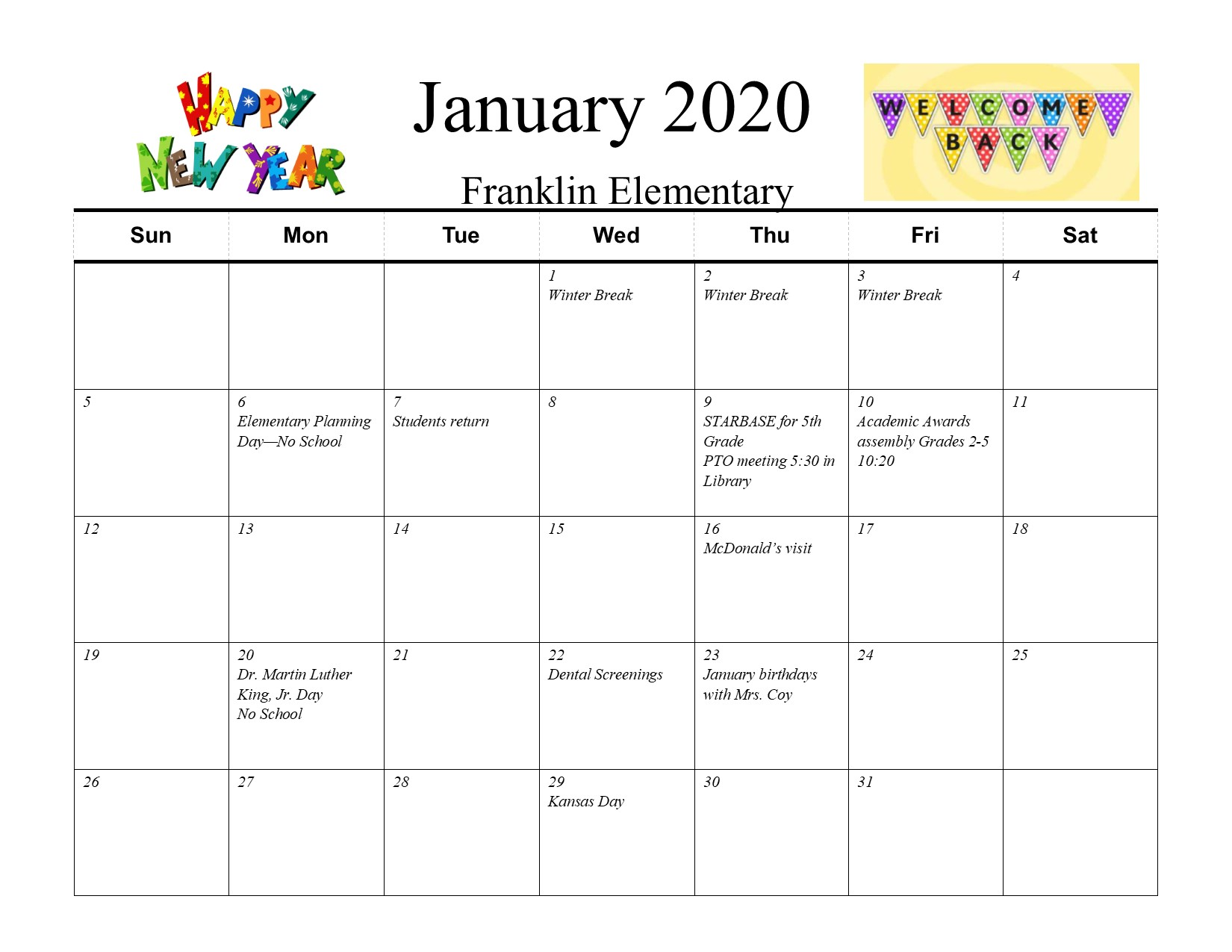 Picture of Franklin January calendar