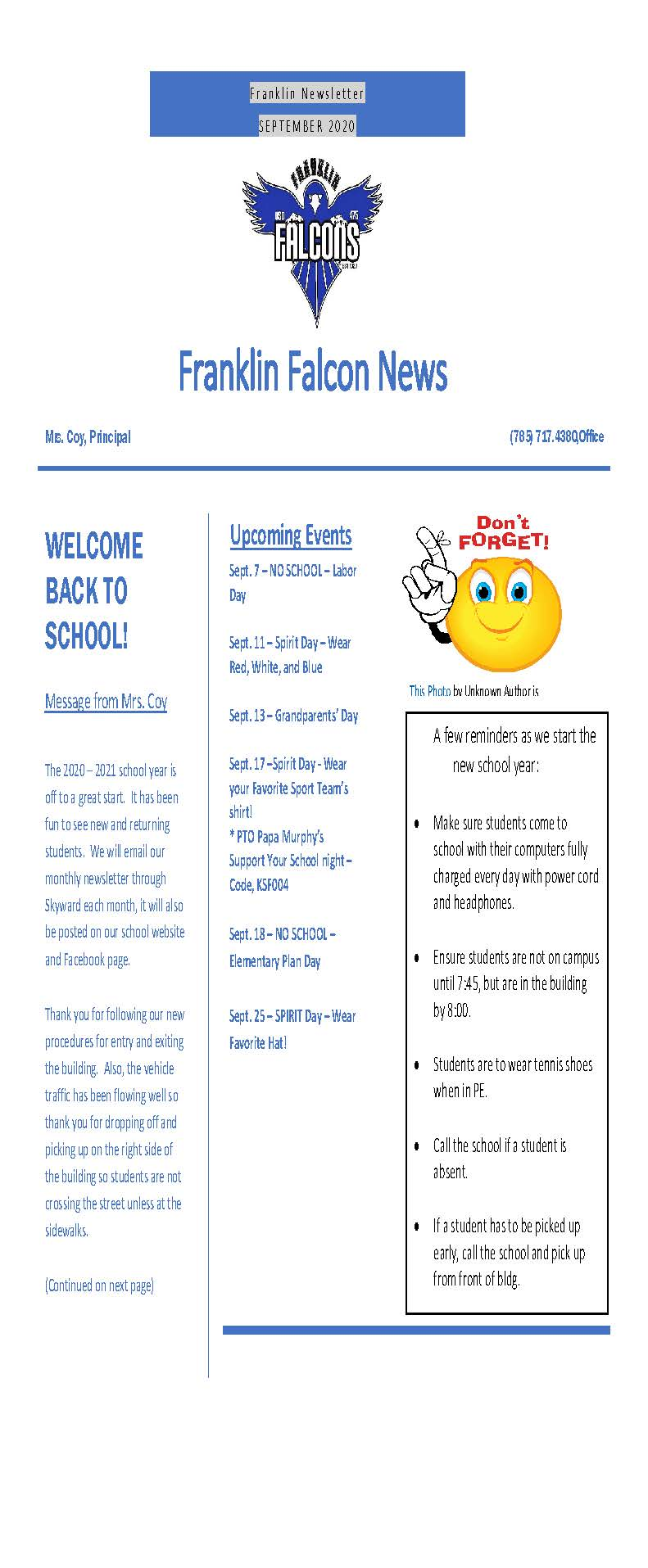 Photo of newsletter, see information above